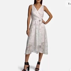 NWT DKNY White Faux-Wrap Midi Dress